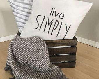 """Live Simply,  Canvas Drop Cloth,  18""""x18"""", PILLOW COVER, Fixer Upper Style, Throw Pillow, Cushion Cover"""