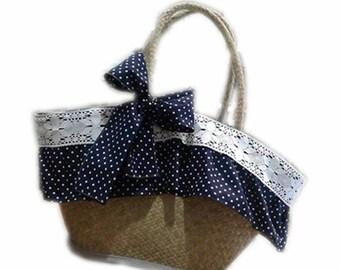 Straw bag Blue polka dots