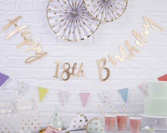 Gold Happy 18th Birthday Banner, 18th Birthday Bunting, 18th Birthday Party Decorations