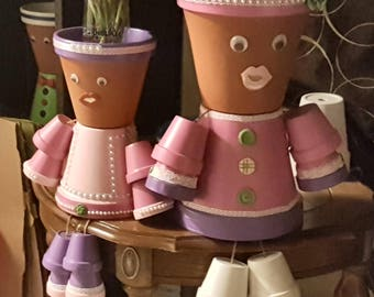 Mom & Daughter Pot People