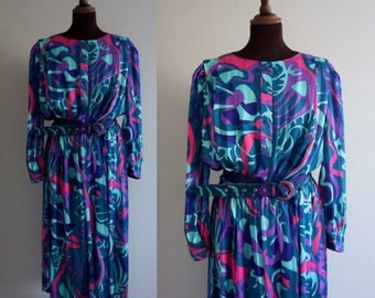 1980s Psychedelic Blue and Pink Dress / Vintage Dress
