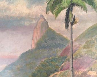 Vintage Brazil Landscape Oil Painting / Rio de Janeiro Palm Tree 1938 Art / Christ the Redeemer Statue / Colorful Landscape