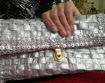 Silver clutch bag made from recycled paper and materials
