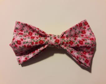 Pink Floral Hair Bow Tie Collar