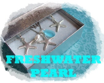 STARFISH NECKLACE and EARRINGS set - Starfish Necklace, Starfish Jewelry, Starfish Wedding, Bridesmaid Jewelry Set, Beach Wedding Bridesmaid