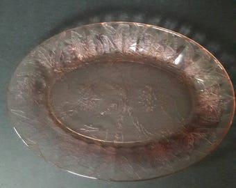 Vintage Pink Carnival Glass Platter