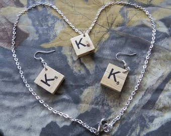 Scrabble Letter Earrings and Necklace -Surgical Steel Earring Hooks -Board Game
