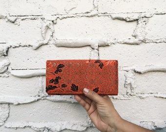 Women's Wallet, Brocade pattern red