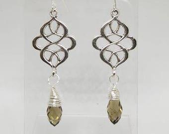 Handmade Stainless Steel Filigree Earrings with Briolette Drops