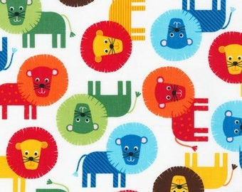 Fat Quarter Ann Kelle - Urban Zoologie - Primary Lions by Robert Kaufman Cotton Quilting Fabric