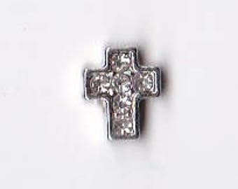 Silver Cross with Crystals Cross Floating Charm