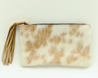 Cowhide clutch - Unique Hair on Hide Purse | Beige and White