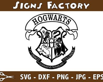 Harry Potter Hogwarts School Crest Graphics SVG Dxf EPS Png Cdr Ai Pdf Vector Art Clipart instant download Digital Cut Print File Decal