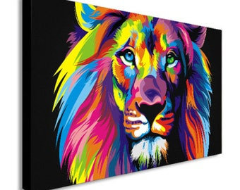 Lion Abstract Pop Art Canvas Wall Art Print - Various Sizes