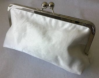 Bridal clutch bag, sateen fabric with shimmer circle overlay