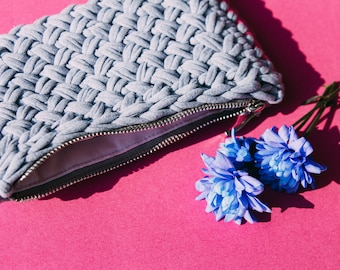 Small grey clutch (for make-up accessories)