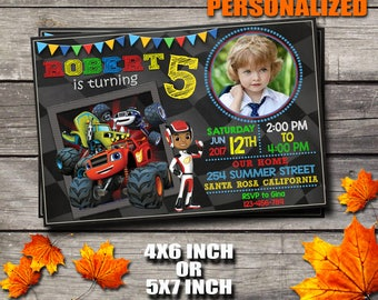 Blaze Invitation / Blaze Birthday Invitation / Blaze And The Monster Machines Invitation / Boy Invitation / Birthday Invitation / Invitation