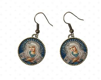 Earrings religious theme, communion, Virgin. R3