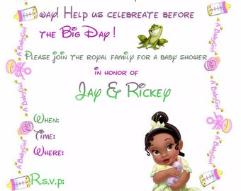 Princess Tiana Baby Shower Invitation (Custom)