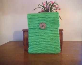 Handmade Crocheted Netbook Laptop Sleeve Lime Green with Decorative Burlap Flower