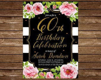 60th Birthday Dinner Invitation. PINK and GOLD Floral 60th Birthday Dinner Invitation. 60th Birthday Invitation. Gold Glitter.Any age.jpg 27