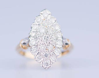Yellow and white gold Marquise ring 18 ct 23 diamonds 2.12 ct