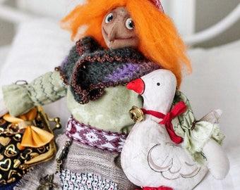 Russian Fairytale Baba Yaga Баба Яга Granny Ginger Hair Interior Doll Exclusive Folklore Toy by Irina Vishnevskaya FREE SHIPPING WW