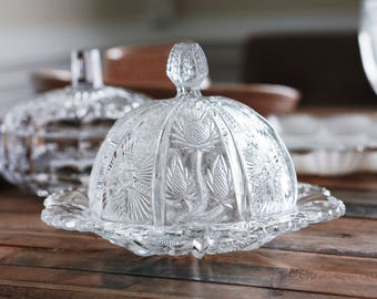 Vintage Cut Glass Pineapple Butter/Cheese Dish