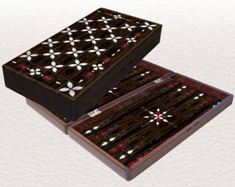 "Backgammon set travel foldable family board game set, Yenigun antep design 19"""