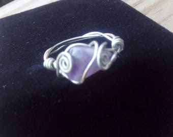 Hand wrapped amethyst ring