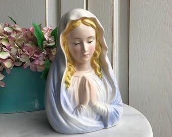 Vintage Madonna/Virgin Mary Head vase/Planter, Vintage religious, Vintage Relpo 6355, vintage Madonna