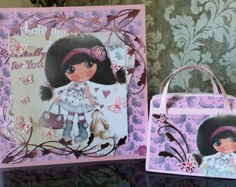 Female Birthday card handmade with matching Gift bag