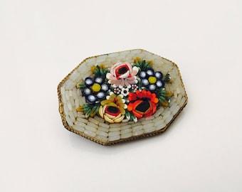 Micro Mosaic Flower Brooch, Glass Mosaic  pin brooch