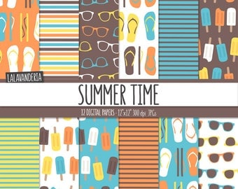 Summer Digital Paper Package with Beach Patterns. Printable Papers Set. Flip Flops, Sunglasses and Ice Creams Backgrounds. Digital Scrapbook