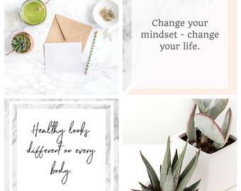 Fitness Graphics - Fitness Branding - Health Coach Branding - Fitness Instagram Captions - Marble Instagram Graphics - Instagram Templates