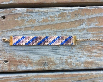 Striped Pink, Purple And Blue Seed Bead Bracelet