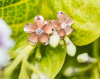 Plumeria Rose Gold Plated CZ Earrings