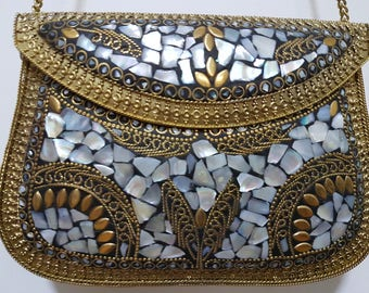 Lac Work brass clutch purse for bridal party wear