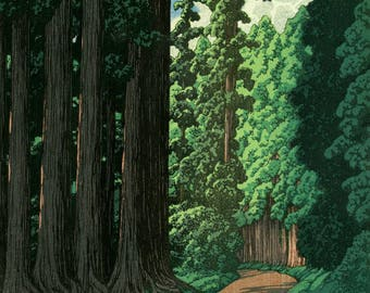 "Japanese Art Print ""Road to Nikko"" by Kawase Hasui, woodblock print reproduction, asian art, cultural art, forest, Japanese cedar trees"