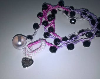 3 laps bracelet or anklet or necklace with beads and heart pendant