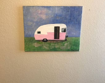 Newspaper Canvas Wall Hanging Pink Camper