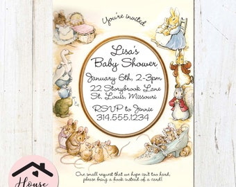 Peter Rabbit Baby Shower Invitation, Gender-Neutral, Unisex, Storybook Invitation, Digital File or Printed, Custom, Personalized 0080