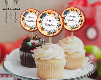 Little Golden Book Cupcake Toppers, Happy Birthday Printable Circles, Little Golden Books Happy Birthday, Birthday Cupcake Toppers, INSTANT