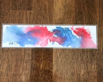 blue/red watercolor bookmarks