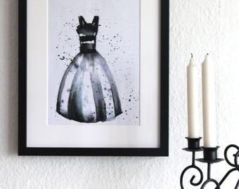 BLACK & WHITE - dress, art print, watercolour, watercolor