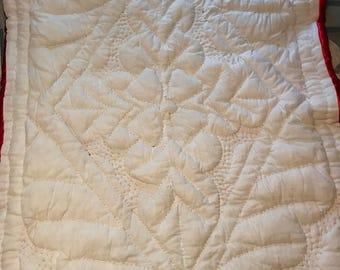 Satin/Linen Baby Quilt OOAK