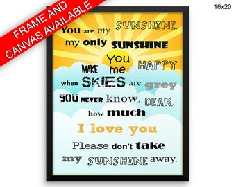 You Are My Sunshine Prints  You Are My Sunshine Canvas Wall Art You Are My Sunshine Framed Print You Are My Sunshine Wall Art Canvas You Are
