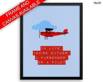 Pilot Canvas Art Passanger Printed Pilot Inspirational Art Passanger Inspirational Print Pilot Framed Art Passanger plane quote print