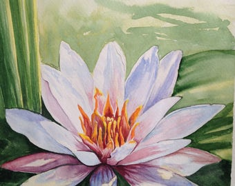 "Original Art.""Water Flower"" Watercolor painting."