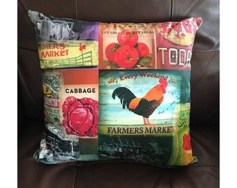 Vintage Farmer's Market Pillow